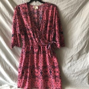 PRETTY IN PINK!  Sexy Short faux wrap dress!